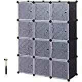 SONGMICS Storage Cube, Plastic Cube Organizer, DIY Modular Closet Cabinet,Bookcase, with Doors, Includes Rubber Mallet and anti-tipping device ULPC34H