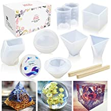 6 Pack Resin Molds LET'S RESIN Large Resin Silicone Molds for Casting Resin, Soap, Wax etc, Epoxy Resin Mold including Cube, Pyramid, Sphere, Diamond, Stone Resin Mold, with Measuring Cups & Wood Sticks, perfect for DIY Christmas Gift