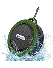 HULPPRE Waterproof Shower Bluetooth Speaker,Portable Mini Sound Speaker,Bass HD Sound,6 Hours Playtime,Suction Cup&Sturdy Hook,for Home,Pool,Bathroom,Travel,Outdoor (Green/shower speaker)