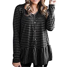 Hanican Fashion Womens Casual Long Sleeve Tops V Neck Button Sweatshirt Striped Pullover Swing Blouse, Black, S