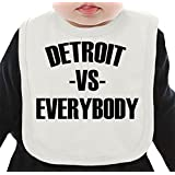 Detroit Vs Everybody Organic Bib W/ Ties| 100% Organic Ring-Spun Combed Cotton| Soft & Comfortable Bib Made W/ Eco-Friendly Materials| Unique Baby Clothing By Bang Bangin