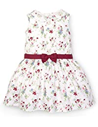 Girls Floral Pin-Tuck Dress