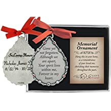 Personalized Cathedral Art Tear-Shaped Memorial Ornament (Gone Yet Not Forgotten)