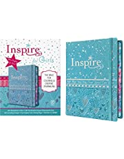 Inspire Bible for Girls NLT (Hardcover LeatherLike, Metallic Blue): The Bible for Coloring & Creative Journaling