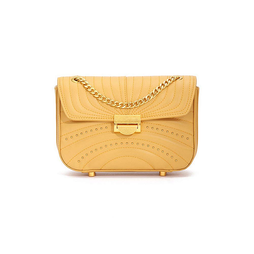 Yellow Onzama Women Stylish Designer Rivets Shoulder Purse Genuine Leather Quilted Chain Bag
