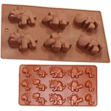 Combo 2 pack molds Small and Large Dinosaur Silicone Cake, Ice Cube ,Chocolate Soap Tray Mold Party maker (Ships From USA)