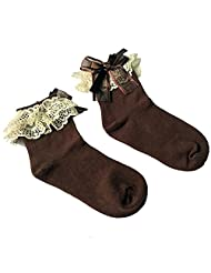 Polytree Girls Princess Lace Bow Top Dress Socks Cute Ankle Socks