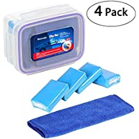 4-Pcs Homecube 100g Car Clay Bars, with Storage Box & Clean Towel for Vehicle care and washing