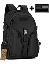 ArcEnCiel Military Tactical Backpack with Patch - Rain Cover Included