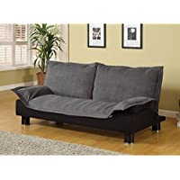Coaster 300177 Futon Sofa Bed Couch Sleeper Grey Microfiber Black Base