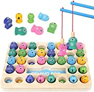 Growlier 36 PACK Wooden Magnetic Fishing Game for kid 1-4 Years Old Montessori Letters Cognition Preschool Edu