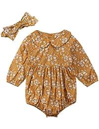 38197f2753e Newborn Baby Girls 3 6 12 18 Months Floral Bodysuit Long Sleeve Bubble  Romper + Headband
