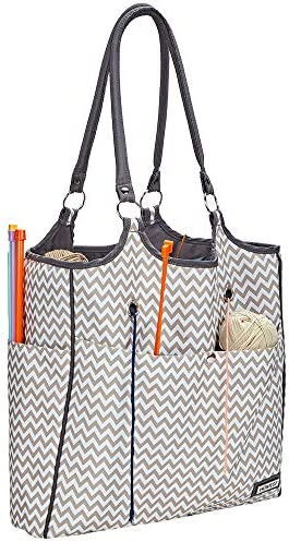 HOMEST Yarn Storage Tote, Tangle Free with 4 Oversized Grommets, Knitting and Crochet Organizer, Large Craft Supplies Bag with Drawstring Closure, Ripple