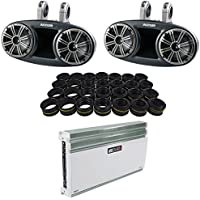 Package: Pair of Kicker 41KMT674 6.75 Marine/Boat Wakeboard Tower Speakers Totaling 300 Watts Peak/150 Watts RMS with Dual Mounting Option + MB QUART NA540.6 6-Channel 540 Watt RMS Marine Amplifier
