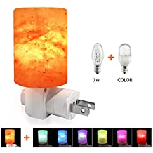 Venhoo Mini Hand Carved Himalayan Salt Lamp Natural Crystal Salt Rock Nursery Wall Night Light Plug In Nightlight with Incandescent Bulb and Multi LED Color Changing Bulb for Air Purifier, Kids Bedroom