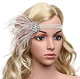 BABEYOND 1920s Flapper Headband Great Gatsby Headpiece 20s Art Deco Headband Ostrich Feather Headdress Vintage 1920s Flapper Gatsby Accessories (Pink)