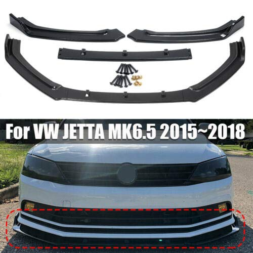 QiYeHua Bright Black 3-Stage Front Bumper Lip Wing Spoiler for VW Jetta MK6.5 2015 2016 2017 2018