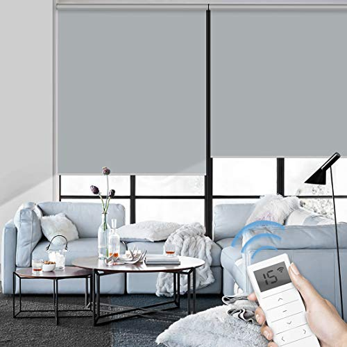 Graywind Motorized Roller Shade Blinds 100% Blackout Shades Cordless Waterproof Remote Control Window Automated Blinds with Valance Custom Size for Smart Home and Office, Light Grey
