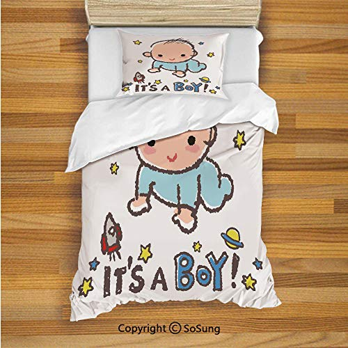Gender Reveal Decorations Kids Duvet Cover Set Twin Size, Little Baby Boy Smiling with Stars Rocket Space Kid Artsy Cartoon 2 Piece Bedding Set with 1 Pillow Sham,Multicolor