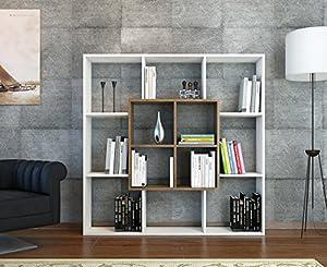 living room shelving unit. LEEF Bookcase  White Walnut Bookshelf Shelving Unit Room Divider for living room or office in modern design