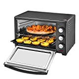 30L Black Mini Oven & Grill 1600W with Baking Tray & Wire Rack,Max Temp 230°C for Roasting, Baking, Boiling and Frying