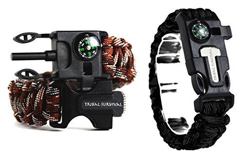 12' Compass Saw (Tribal Survival 550lb Paracord Outdoor Survivalist Bracelet, 5-in-1 Survival Kit - With embedded Compass, HighFQ Whistle, Saw-Knife, Ferro Rod Flint Stick & 12ft of 550lb Rope, 2 PC)