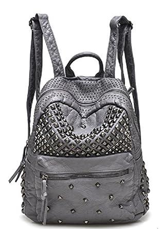 Amazon.com   Sannea Womens Studded Grey Leather Backpack