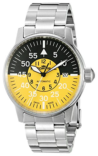 Fortis Mens 595 11 14 M Flieger Cockpit Yellow Analog Display Automatic Self Wind Silver Watch
