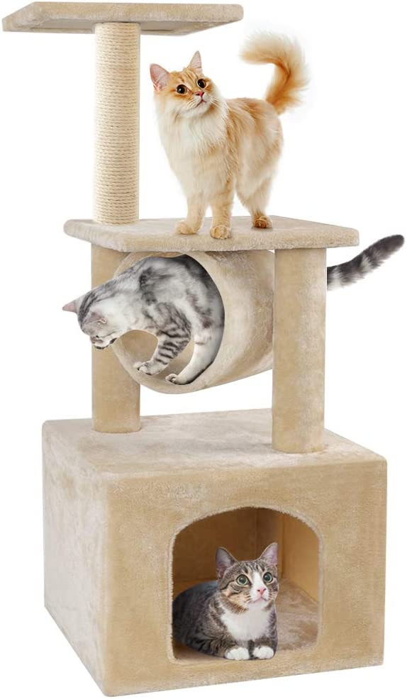 BEAU JARDIN Cat Trees and Towers Cat Condo for Kittens Cat Furniture Towers with Scratching Posts, Double Perches, and Roomy Condo House Kitty Condos Cat Activity Trees Climber Towers