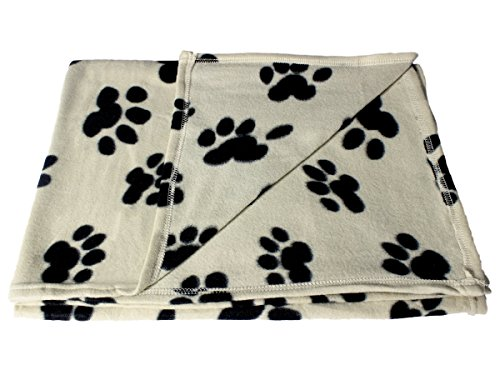 Large Fleece 60 x 39 Inch Pet Blanket with Paw Print Pattern - Animal Supplies by bogo Brands Large Paw Print Fleece