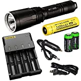 Nitecore SRT7 Revenger (Black) 960 Lumens LED Built-in Red, Green, Blue Lights, Red-Blue Strobe, Flashlightwith 18650 Li-ion rechargeable battery, i4 Charger, 2 X EdisonBright CR123A Batteries