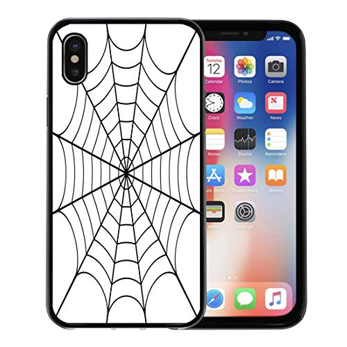 Semtomn Phone Case for Apple iPhone Xs case,Spider of Cobweb Spiderweb Halloween Net Pattern Haloween for iPhone X Case,Rubber Border Protective Case,Black]()