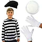 CHILD'S FRENCH MIME FANCY DRESS COSTUME SCHOOL CURRICULUM BOOK WEEK SET BLACK STRIPY T-SHIRT WITH BLACK BERET KID'S WHITE GLOVES AND WHITE FACE PAINT SIZE XLARGE