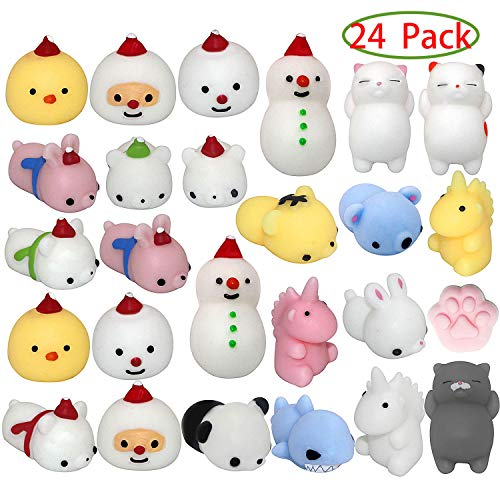 Nobasco Squishies Mochi Squishy Toys  Christmas Kawaii Cat Squishys Slow Rising Animals  Party Favors Goodie Bag Birthday Gifts Mini Squishies Stress Reliever Toy Pack