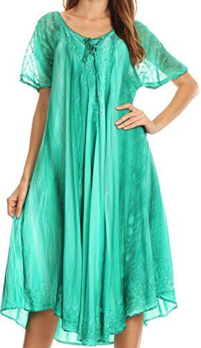 - Sakkas 17604 - Myani Two Tone Embroidered Sheer Cap Sleeve Caftan Long Dress | Cover Up - Seagreen - OS