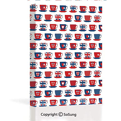 - Canvas Wall Art Decor Large Modern Bedroom Mural Great Britain Themed Teacup Forms Patterned Union Jack Hearts Flags Decorative Artwork Framed Ready to Hang for Home Decoration 12