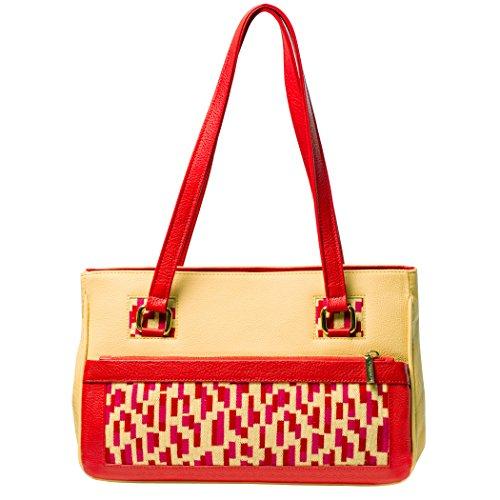 TATI Boduch Designer Handbag, MOSAIC Collection, in vera pelle: giallo, maglieria: rosso