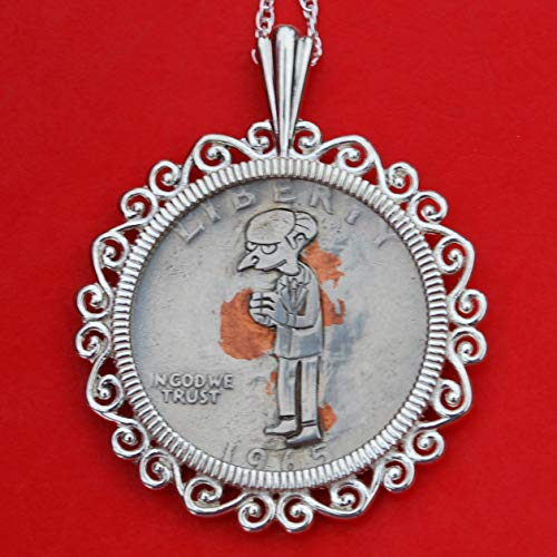 US 1965 Washington Quarter Hand Carved Hobo Nickle Style Coin 925 Sterling Silver Necklace - Charles Montgomery Burns ()