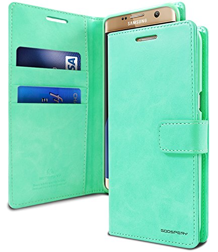 GOOSPERY Galaxy S7 Edge Case for Samsung Galaxy S7 Edge, [Drop Protection] Blue Moon [Wallet Case] PU Leather with Shock Absorbing TPU Casing [ID Card & Cash Holders] (Mint Green) S7E-BLM-MNT