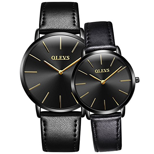 OLEVS Charm Black Leather Strap Ultrathin Waterproof Quartz Couple Watch, Black Dail, Gift for Couple