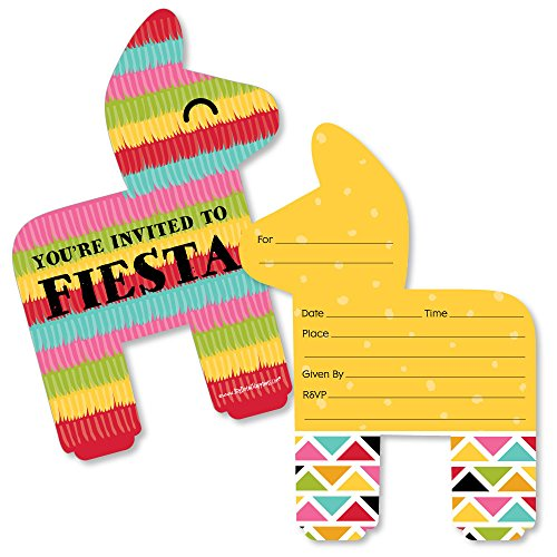 Let's Fiesta - Shaped Fill-in Invitations - Mexican Fiesta Invitation Cards with Envelopes - Set of ()