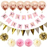 Kioneer Birthday Party Decoration Supplies set, Happy Birthday Banner,6 packs Pastel Confetti Balloon, Hanging Paper Fan Set and 6 pcs Balloons,for All Birthday Party Decorations - Gold and pink set
