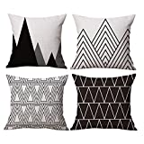 Modern Simple Geometric Style Cotton & Linen Throw Pillow Covers, 18 x 18 Inches, Pack of 4 (Black)
