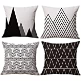 modern simple geometric style cotton linen throw pillow covers 18 x 18 inches pack of 4 black - Black And White Decorative Pillows