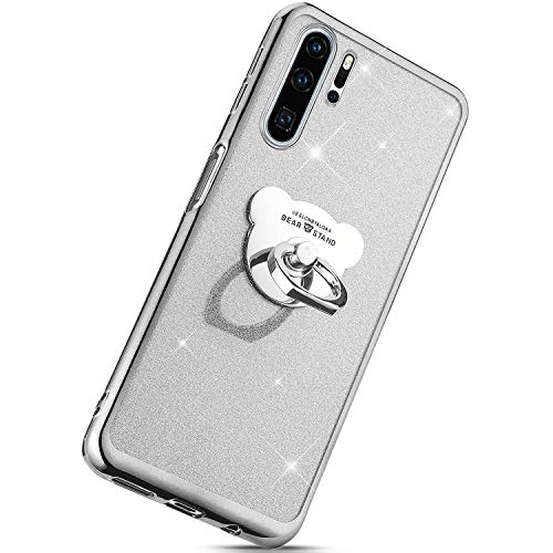 (Herbests Compatible with Huawei P30 Lite Case Glitter Girls Women Bling Sparkle TPU Case with Bear Ring Stand Holder Cute Crystal Clear Soft Silicone Rubber Protective Case,Silver)