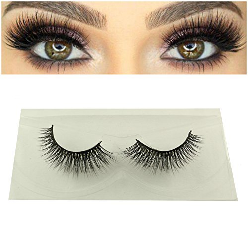 3D Mink Fur Eyelashes Reusable Long Adhesive Strip Hand-made False Dramatic Eye Makeup Lashes for Volume 1 Pair per Package (Ariana)