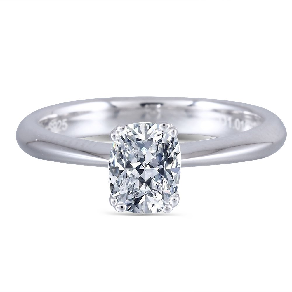 DOVEGGS 1ct 5X7mm H-I Color 3mm Width Cushion Cut Moissanite Engagement Ring for Women Platinum Plated Silver (5.5)