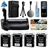 Multi Power Battery Grip + (4 Pack) Ultra High Capacity EN-EL14 ENEL14 Replacement Battery (1800mAh) + Replacement AC/DC Rapid Battery Charger with Car & European Adapter + Wireless Shutter Release Remote Control for Prints + Lens Cleaning Kit for Nikon D3200 DSLR SLR Digital Camera