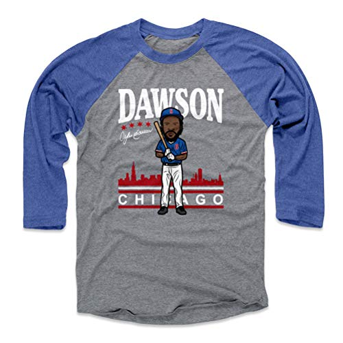 500 LEVEL Andre Dawson Baseball Tee Shirt (X-Large, Royal/Heather Gray) - Chicago Cubs Raglan Tee - Andre Dawson Toon WHT