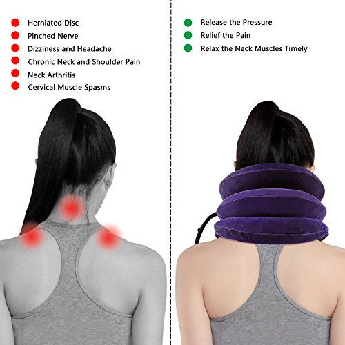 Banglijian Cervical Neck Traction Collar Device Inflatable Pillow Effective and Instant Relief for Chronic Neck and Shoulder Pain with Adjustable Size (Purple) by Banglijian (Image #3)